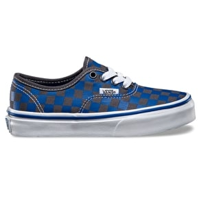 Vans Authentic Kids Shoes - (Checker) Blue/Asphalt UK Junior 13 (B-Stock)