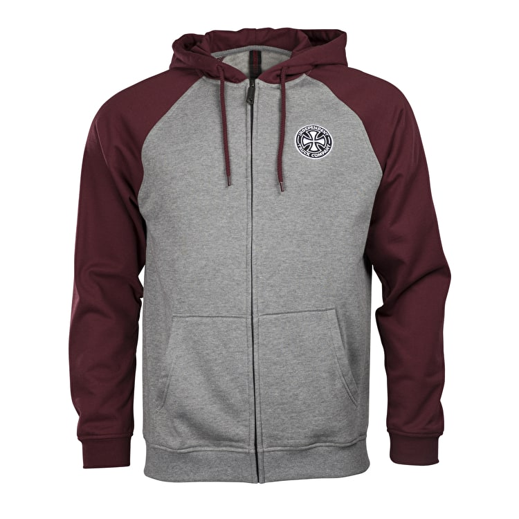 Independent ITC Cross Zip Hoodie - Oxblood/Dark Heather