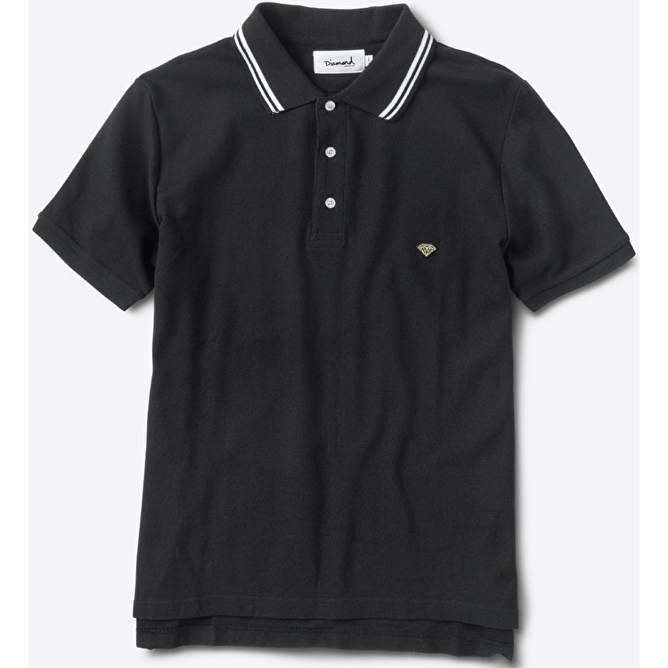 Diamond Striped Collar Polo Shirt - Black