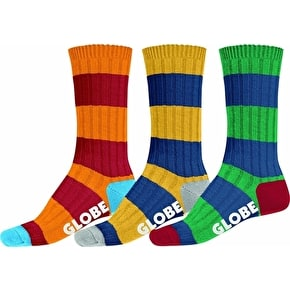 Globe Fat Stripe Boot Socks - Deluxe 3 Pack