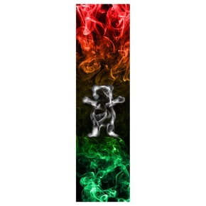 Grizzly Smoke Bear Skateboard Grip Tape - Rasta
