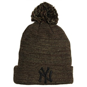 New Era MLB Marl Bobble Knit Beanie - Yankees - Green/Brown/Black