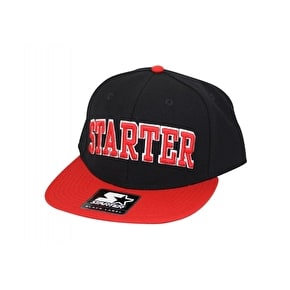Starter College Arch Snapback Cap - Black / Red
