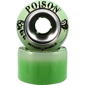Atom Poison Slim Alloy 62MM Quad Derby Wheels 84A  (4pk) Green