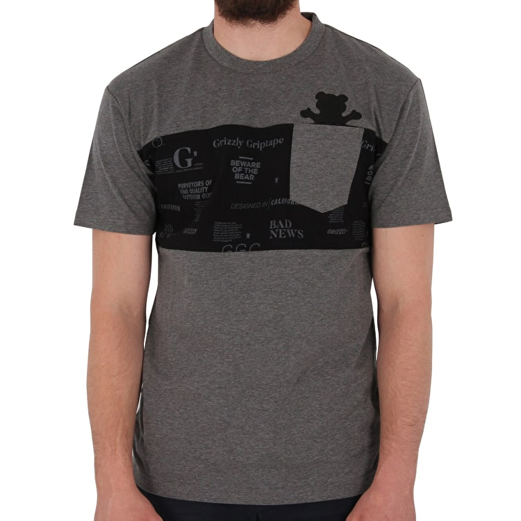 Grizzly Front Runner Premium Pocket T shirt - Charcoal