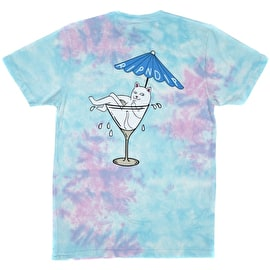 RIPNDIP Dirty Nermtini T Shirt - Blue Pink Acid Wash