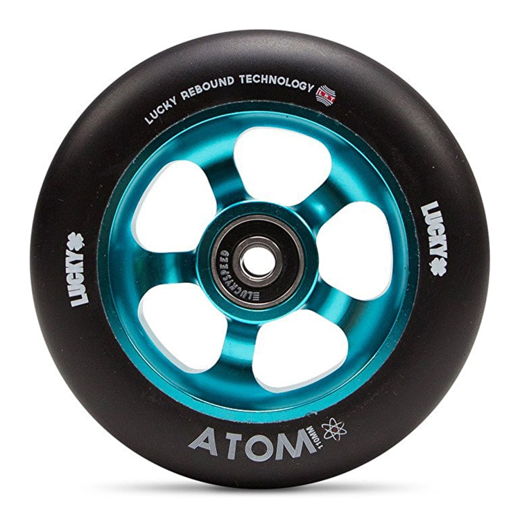 Lucky Atom 110mm Scooter Wheel - Teal/Black
