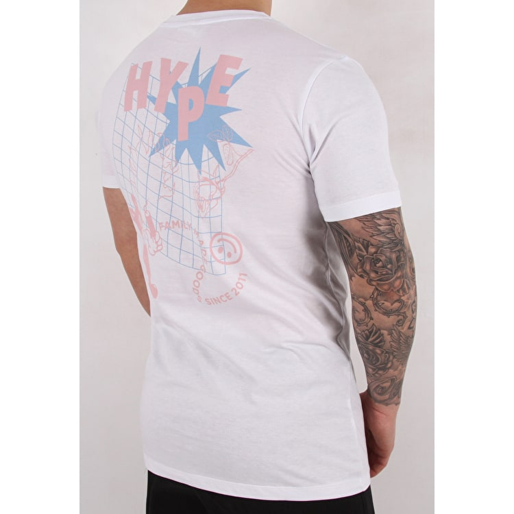 Hype Cat Grid T shirt - White/Blue/Pink