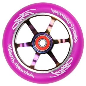 Grit 6 Spoke ACW 110mm Scooter Wheel - Purple/Neochrome
