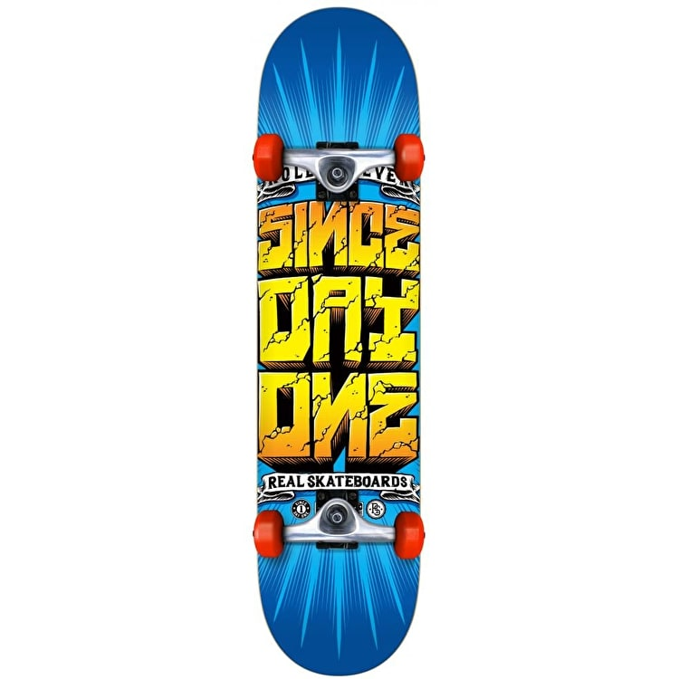 Real Since Day One Loco Complete Skateboard - Blue/Yellow 7.5""