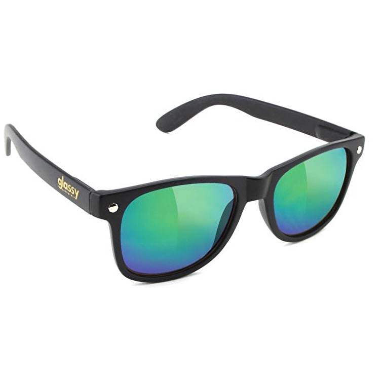 Glassy Sunhaters Leonard Sunglasses - Matte Black/Green Mirror