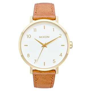 Nixon Arrow Womens Leather Watch - Gold/White/Saddle