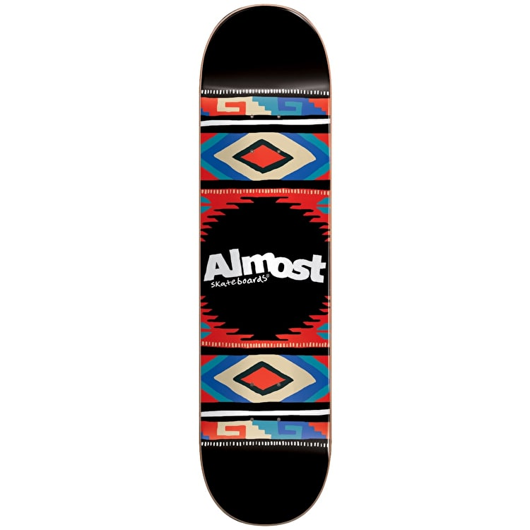 Almost Aztec Blanket HYB Skateboard Deck - Black 7.75""