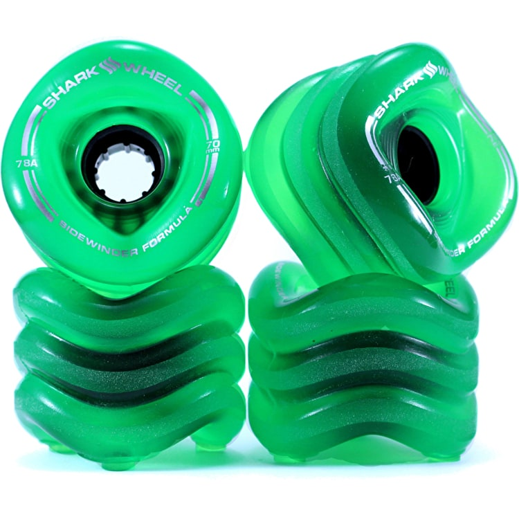 Shark Wheel Sidewinder 70mm 78a Longboard Wheels - Clear Green