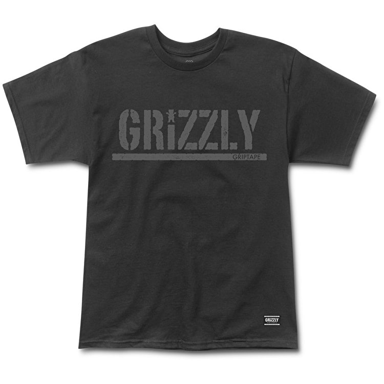 Grizzly Rough Stamp T-Shirt - Black