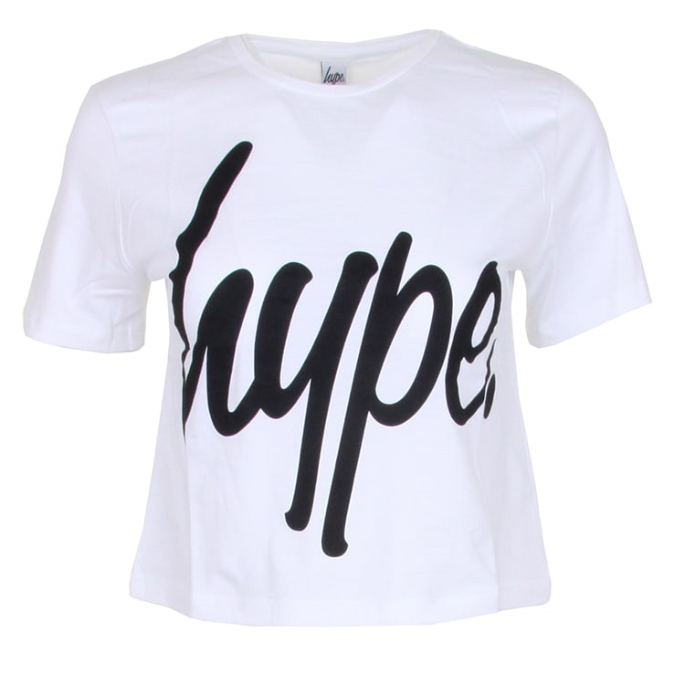 Hype Script Crop T-Shirt - White/Black