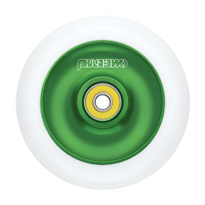 Phase Two 110mm Alloy Solid Scooter Wheel - White/Green