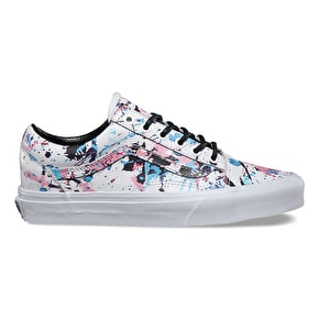 Vans Old Skool Skate Shoes - (Paint Splatter) Pink/True White