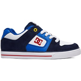 DC Pure Boys Skate Shoes - Navy/Red
