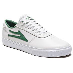 Lakai Manchester Skate Shoes - White/Green Leather