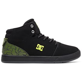 DC Crisis High Top SE Kids Skate Shoes - Black/Black/Soft Lime