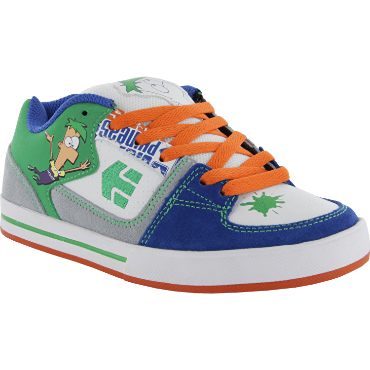 Etnies Kids Ronin Disney Skate Shoes - White/Blue/Green