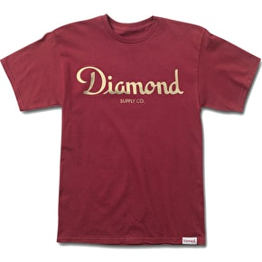 Diamond Champagne Script T-Shirt - Burgundy