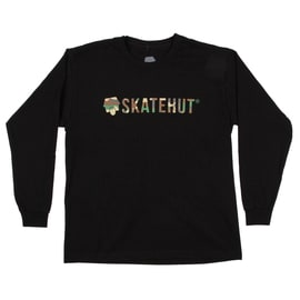 SkateHut Script Logo Long Sleeve Kids T shirt - Black/Camo
