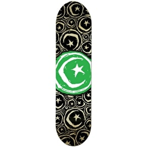 DEAD -Foundation Star & Moon Stickered Green Team Skateboard Deck - 8.375