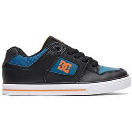 DC Pure Boys Skate Shoes - Black/Orange/Blue
