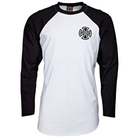 Independent Past, Present, Future Long Sleeve Baseball T shirt - Black/White
