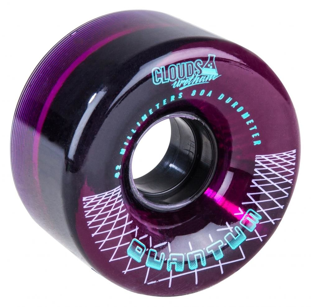 Image of Clouds Urethane Quantum Quad Skate Wheels - Clear/Purple 62mm 80A (4 Pack)