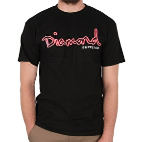Diamond Neon OG Script T-Shirt - Black