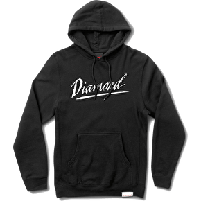 Diamond Jagged Script Hoodie - Black