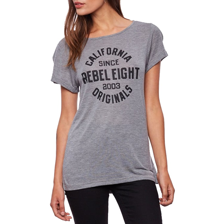 Rebel8 Enduring Womens Slouchy T-Shirt - Heather Grey