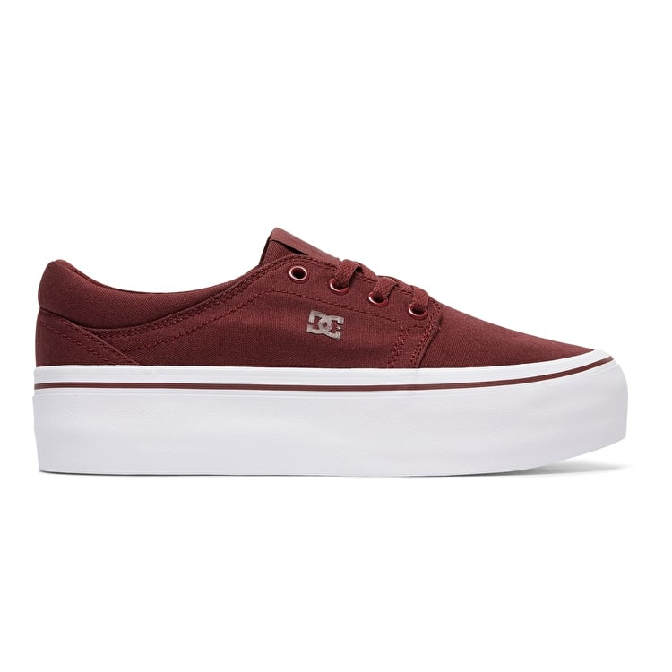 DC Trase Platform TX Womens Skate Shoes - Burgundy
