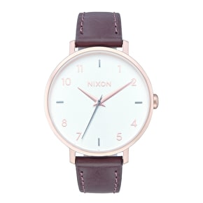 Nixon Arrow Womens Leather Watch - Rose Gold/Silver