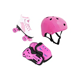 Rio Roller Pure Quad Roller Skates & Protection Bundle - Pink