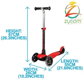 Zycom Zing Complete Scooter w/Light Up Wheels - Red/Black