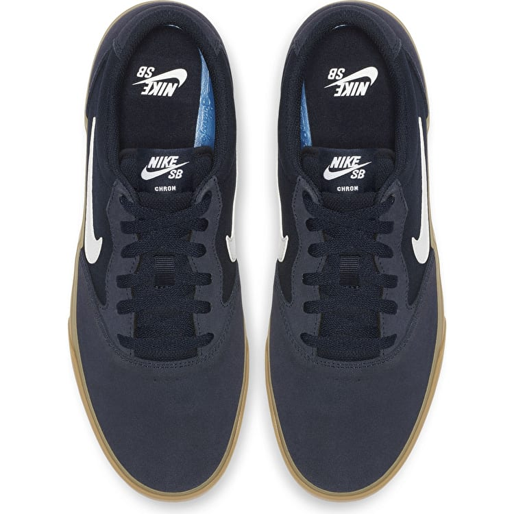 Nike SB Chron SLR Skate Shoes - Obsidian/White/Gum