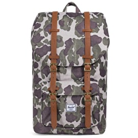 Herschel Little America Backpack - Frog Camo/Tan Synthetic Leather
