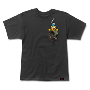Grizzly Adventure Time - Homies Help Homies Pocket T-Shirt - Black