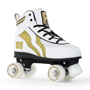 B-Stock Rio Roller Varsity Quad Roller Skates - White/Gold (Size - UK 8) (Box Damaged)