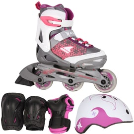 Rollerblade 2018 Cube Adjustable Inline Skates Bundle - White/Purple