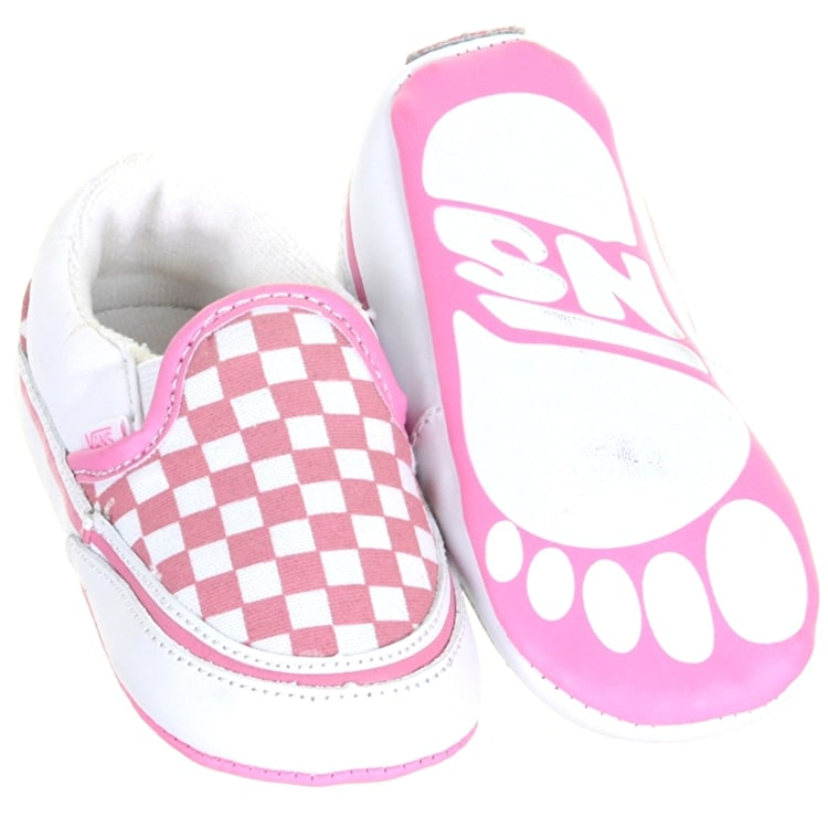 Vans Slip On Checkerboard Crib Shoes - Aurora Pink/White