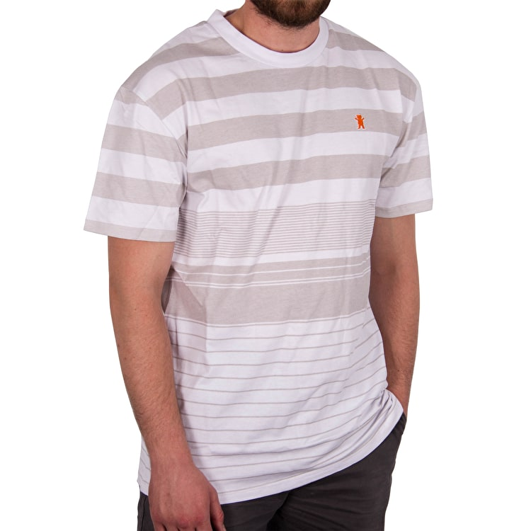 Grizzly Manta Ray Striped Knit T-Shirt - Grey