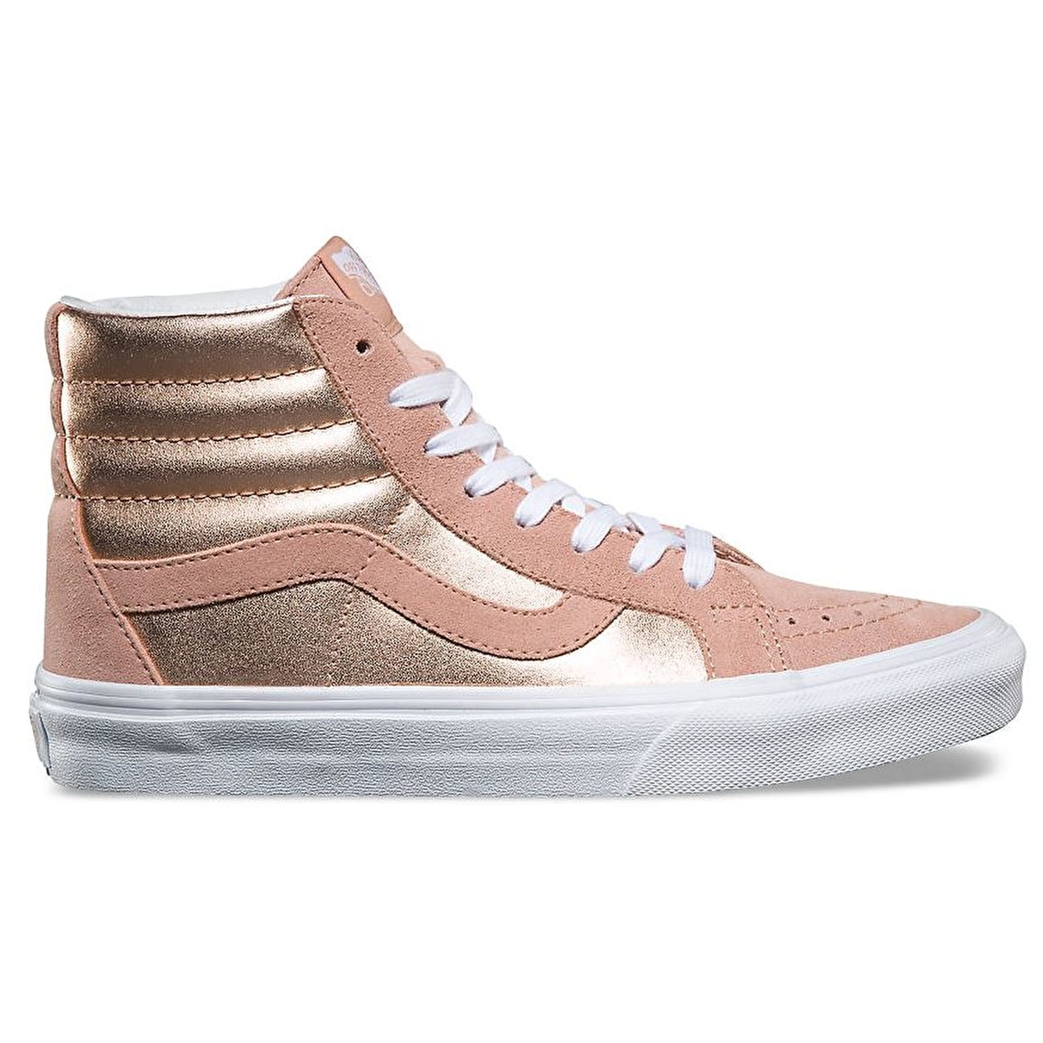 Vans SK8-Hi Reissue Mahogany Skate Shoes - (2-Tone Metallic) Mahogany Reissue Rose/True White afa085