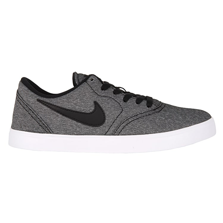Nike SB Kids Check Canvas Skate Shoes - Black/White/Photo Blue