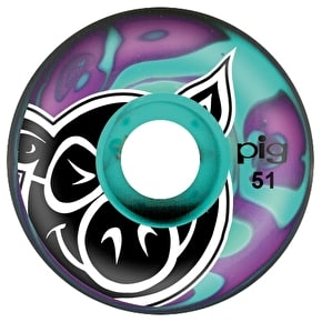 Pig Skateboard Wheels - Swirl Purple/Teal 51mm