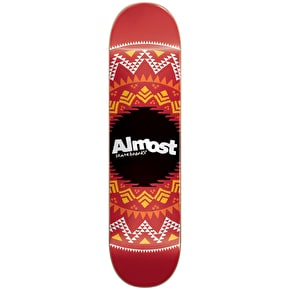 Almost Geo Aztec Skateboard Deck - Red 7.75